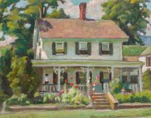 GUY CARLETON WIGGINS, American (1883-1962), A New England Home (probably Old Lyme), oil on canvas board, signed