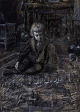 F. LUIS MORA, American (1874-1940), Baby William with Toy Soldiers, charcoal and mixed media on paper, signed
