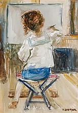 F. LUIS MORA, American (1874-1940), The Little Artist (Rosemary, the Artist''s Daugher), watercolor on paper, signed