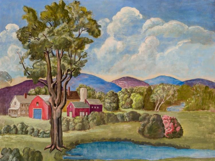 DOROTHY EATON, American (1893-1968), Farmhouses in the Berkshires, oil on canvas, initialed