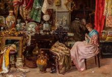 CAROLO MENEGAZZI, Italian (19th/20th Century), In the Antique Shop, oil on panel, signed