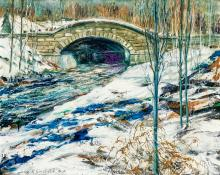 """JOHN R. GRABACH, American (1886-1981), """"Stream in Winter"""" (Possibly Central Park), oil on canvas, signed lower left """"John R. Grabach..."""