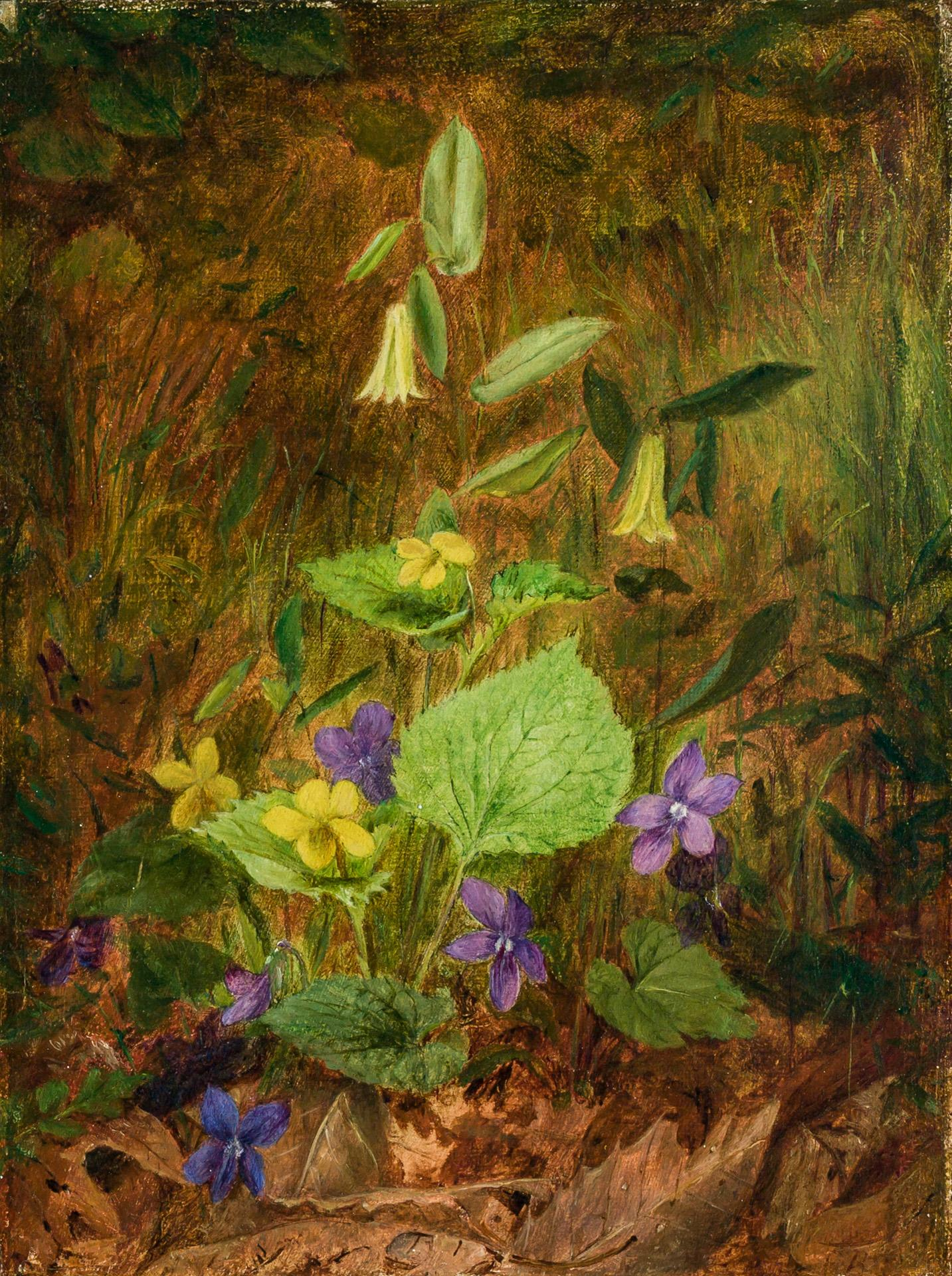 """FIDELIA BRIDGES, American (1834-1923), Myrtle and Lilies, oil on canvas, signed lower right """"F. Bridges"""", 8 1/2 x 6 1/2 inches"""