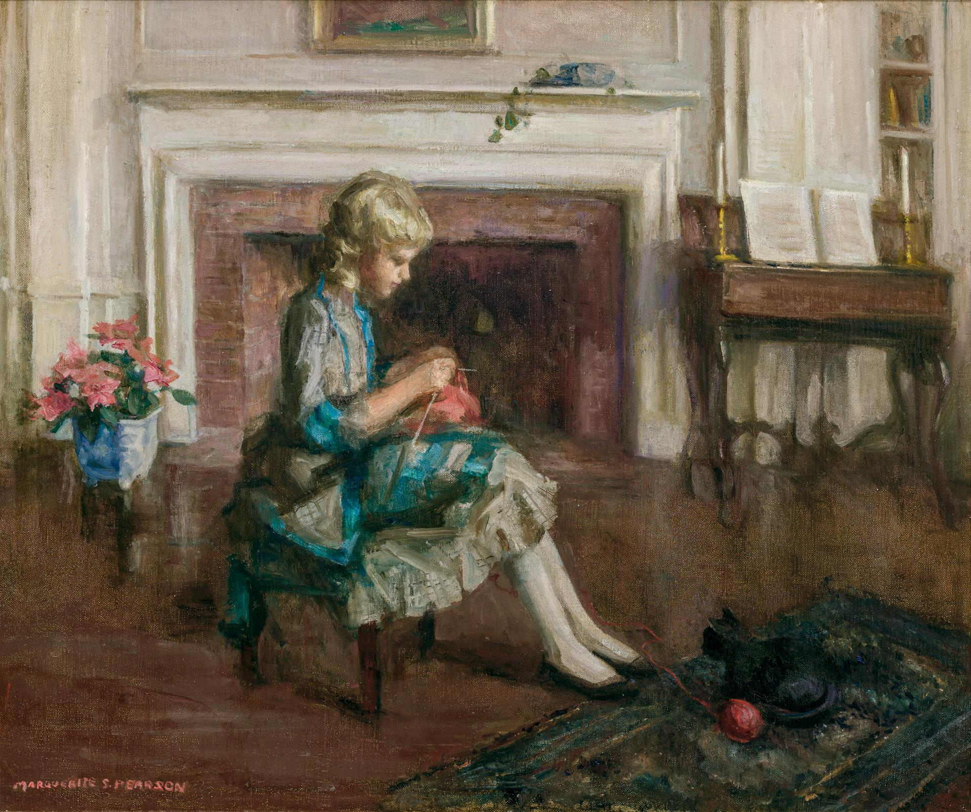 """MARGUERITE STUBER PEARSON, American (1898-1978), """"Holiday Pastime"""", oil on canvas, signed lower left """"Marguerite S. Pearson"""", 25 x 3..."""