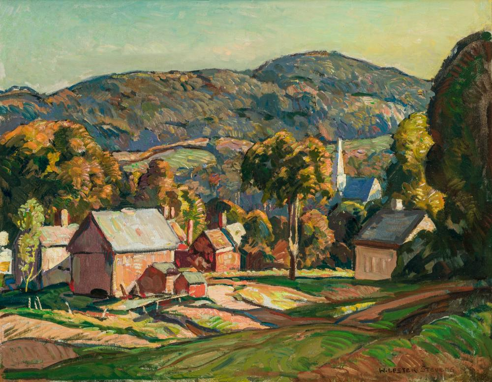 """WILLIAM LESTER STEVENS, American (1888-1969), Autumn in the Valley, oil on canvas, signed lower right """"W. Lester Stevens, NA"""", 20 x..."""