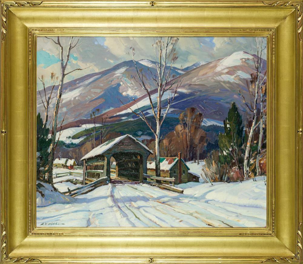 "ALDRO THOMPSON HIBBARD, American (1886-1972), Covered Bridge in Winter, oil on canvas, signed lower left ""A.T. Hibbard"", 25 x 30 inc..."