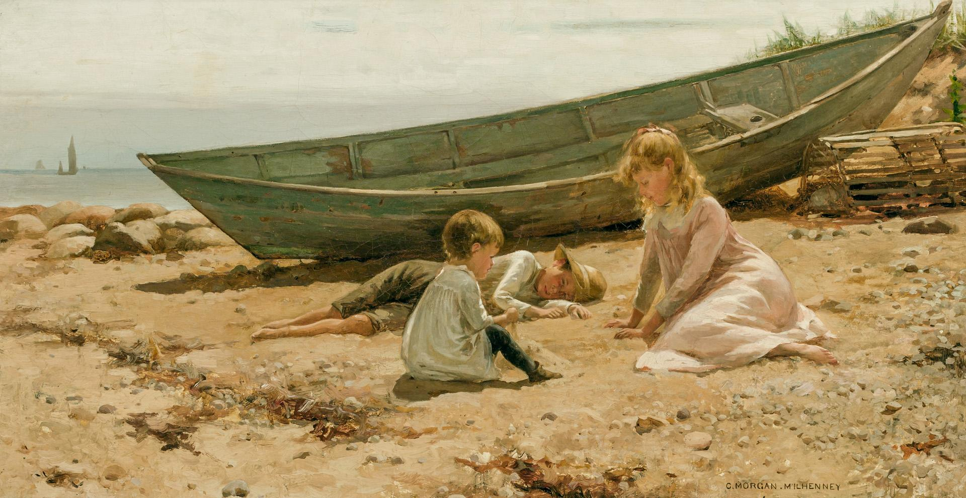 """CHARLES MORGAN MCILHENNEY, American (1858-1904), Summer Afternoon by the Shore, oil on canvas, signed lower right """"C. Morgan McIlhen..."""