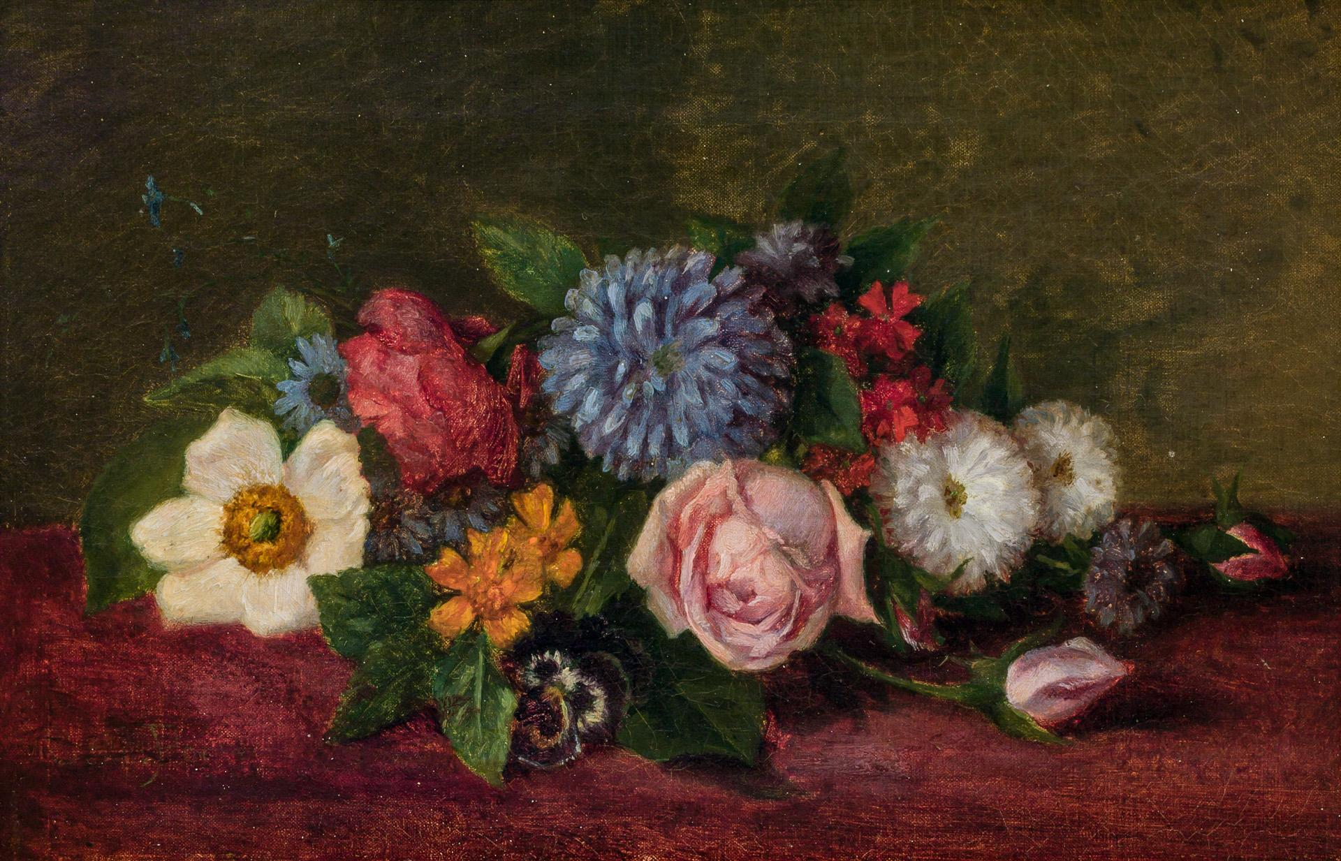 CHARLES ETHAN PORTER, American (1847-1923), Floral Still Life, oil on canvas, signed faintly lower left, 7 1/2 x 11 1/2 inches