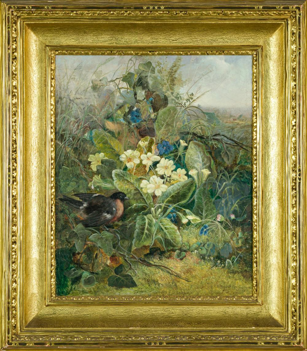 "FIDELIA BRIDGES, American (1834-1923), Rose Breasted Grosbeak in a Thicket, oil on canvas, signed lower right ""F. Bridges"", 18 x 14..."