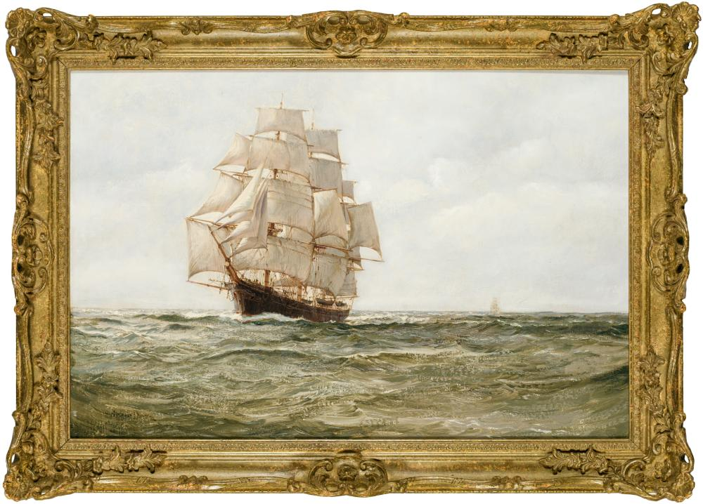 """MONTAGUE DAWSON, British (1890-1973), Ship at Sail, oil on canvas on board, signed lower left """"Montague Dawson"""", 20 x 29 3/4 inches"""