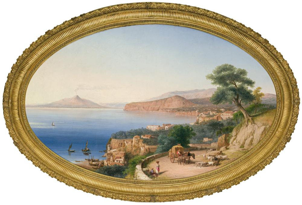 "JOHN GADSBY CHAPMAN, American (1808-1890), ""Sorrento"", oil on canvas, signed with artist's monogram, dated and inscribed lower right..."