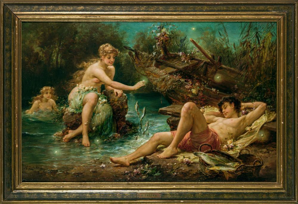 """HANS ZATZKA, Austrian (1859-1945), """"Fisher's Dream"""", oil on panel, signed lower left """"H. Zatzka"""", 14 1/2 x 22 1/2 inches"""