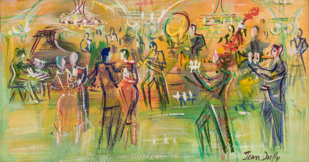 """JEAN DUFY, French (1888-1964), Dancing, mixed media on paper laid down on canvas, signed lower right """"Jean Dufy"""", 6 1/4 x 11 1/2 inc..."""