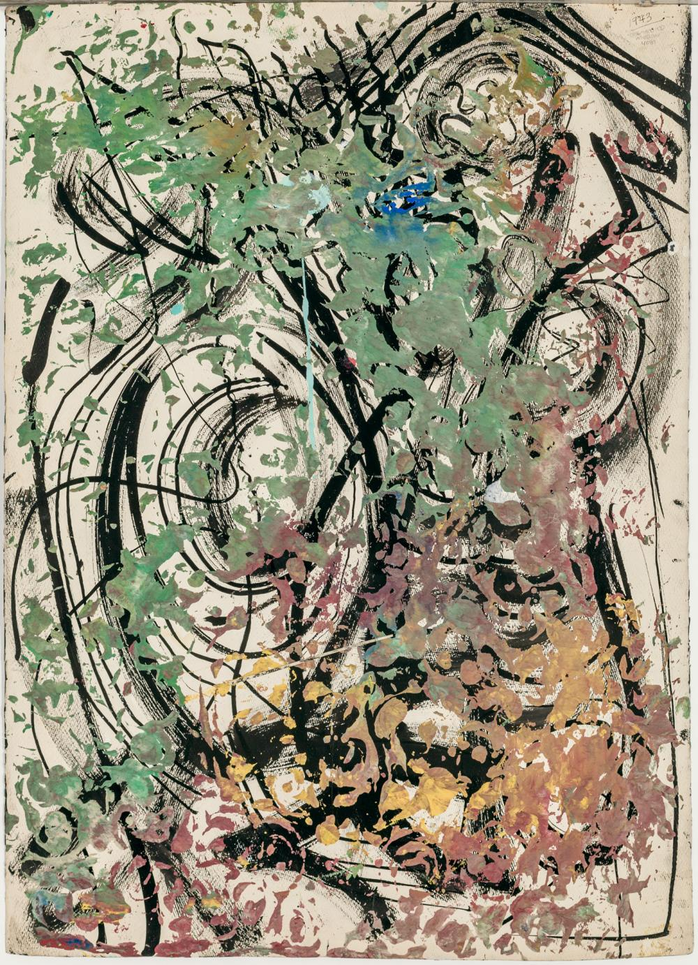 """GEROME KAMROWSKI, American (1914-2004), """"Disembodied Motion"""" (Double-sided), ink and gouache on paper, signed lower left """"Kamrowski,..."""