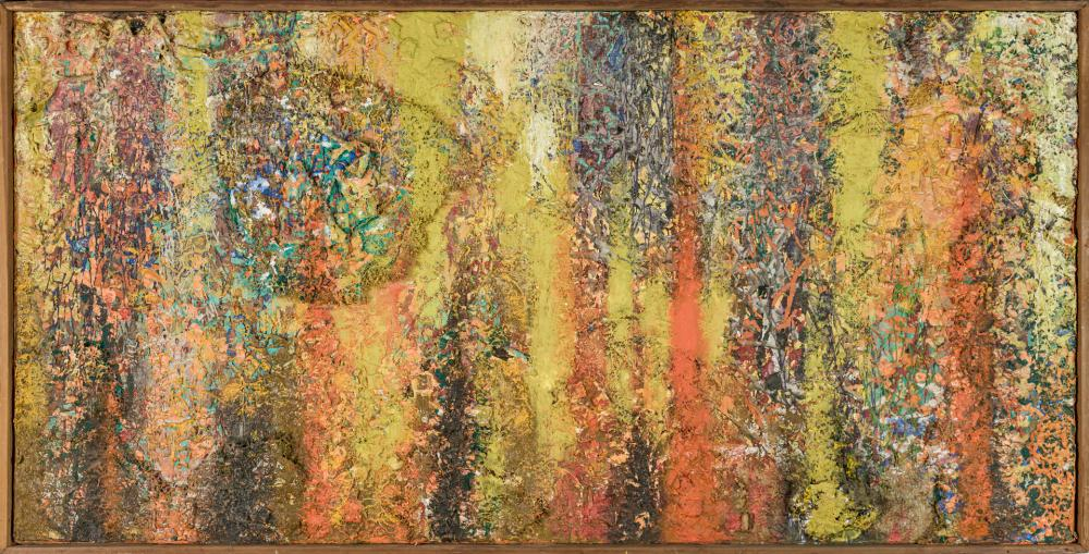 """GEROME KAMROWSKI, American (1914 - 2004), """"Space Carnage"""", mixed media and collage on canvas, signed on the reverse """"G. Kamrowksi,""""..."""