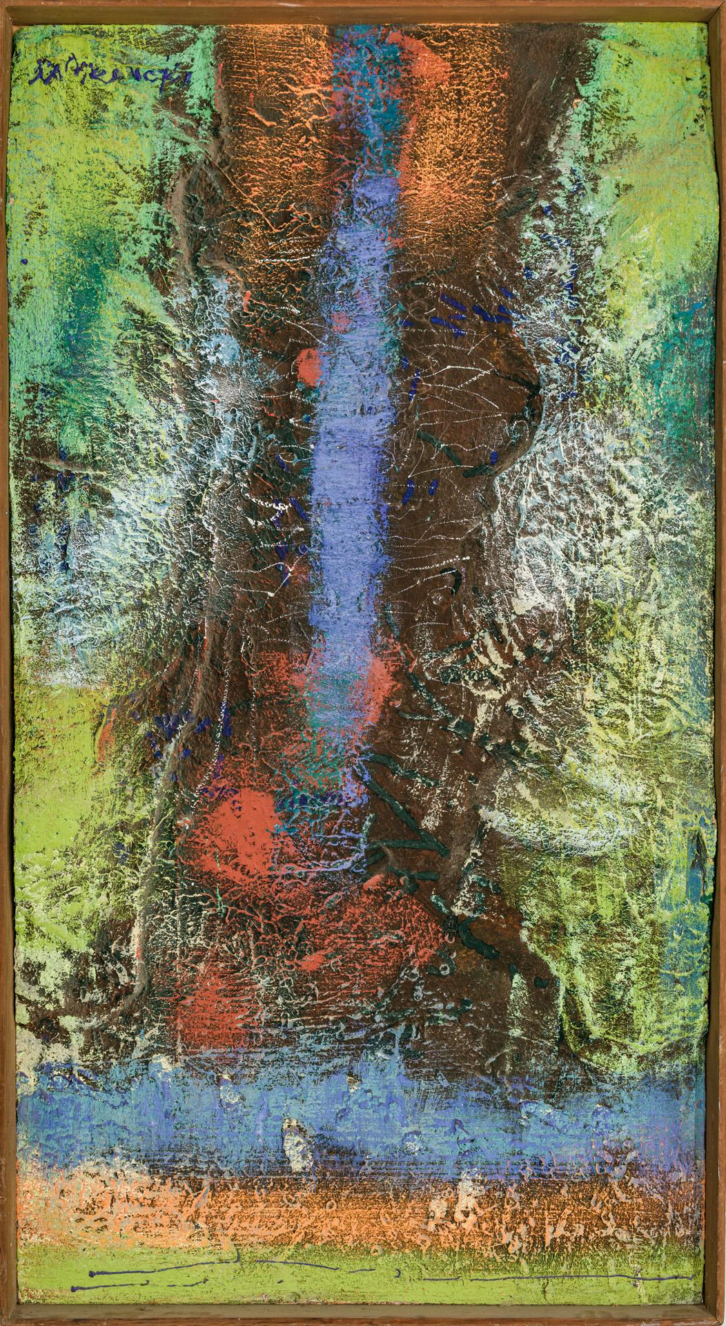 """GEROME KAMROWSKI, American (1914 - 2004), """"Lunar Ribs"""", mixed media on canvas, signed upper left """"Kamrowski,"""" signed, dated and numb..."""
