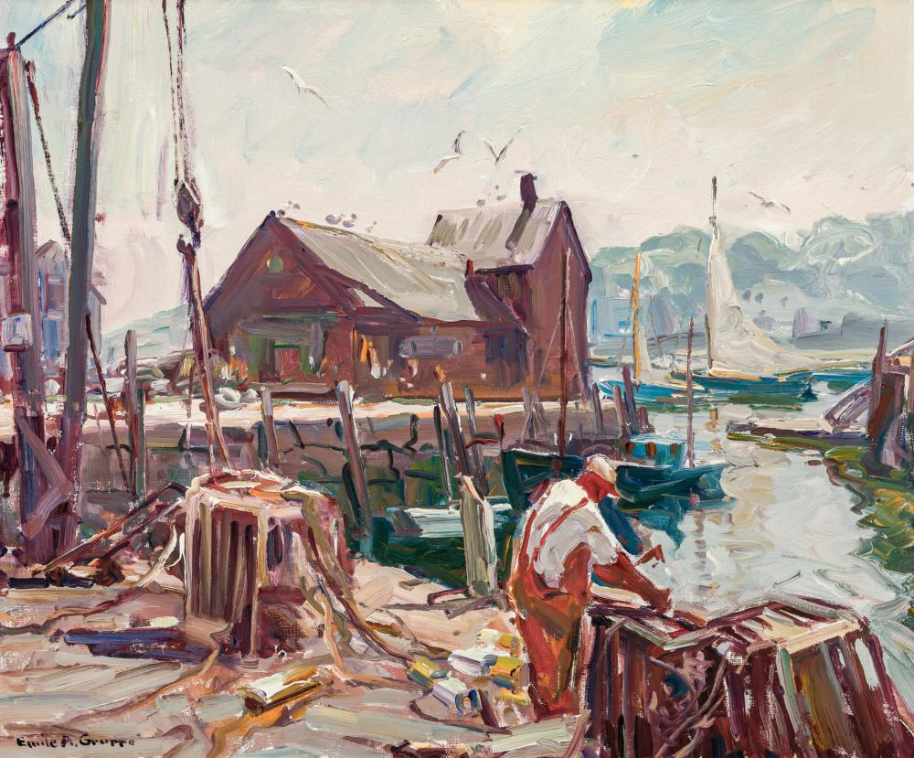 "EMILE A. GRUPPE, American (1896-1978), ""Morning Rockport"", oil on canvas, signed lower left ""Emile Gruppe"", 25 x 30 inches"