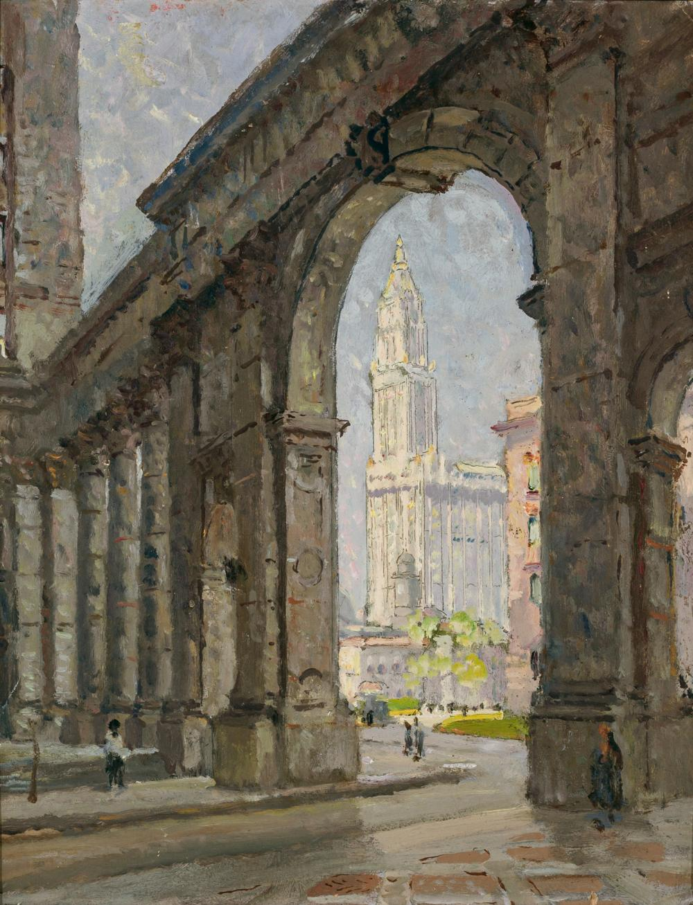 "COLIN CAMPBELL COOPER, American (1856-1937), ""Woolworth Building, New York City"", oil on board, signed and inscribed on the reverse..."
