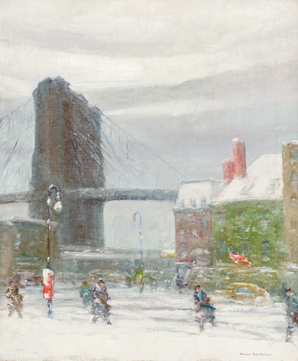 "JOHANN BERTHELSEN, American (1883-1972), ""Brooklyn Bridge"", oil on canvas, signed lower right ""Johann Berthelsen"", 24 x 20 1/4 inche..."