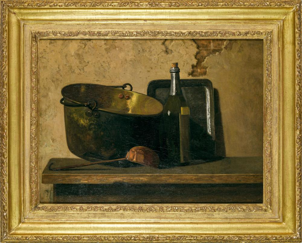 """JOHN FREDERICK PETO, American (1854-1907), Hommage Au Chardin (""""Wine and Brass Stewing Kettle - Preparation for a French Potage""""), o..."""