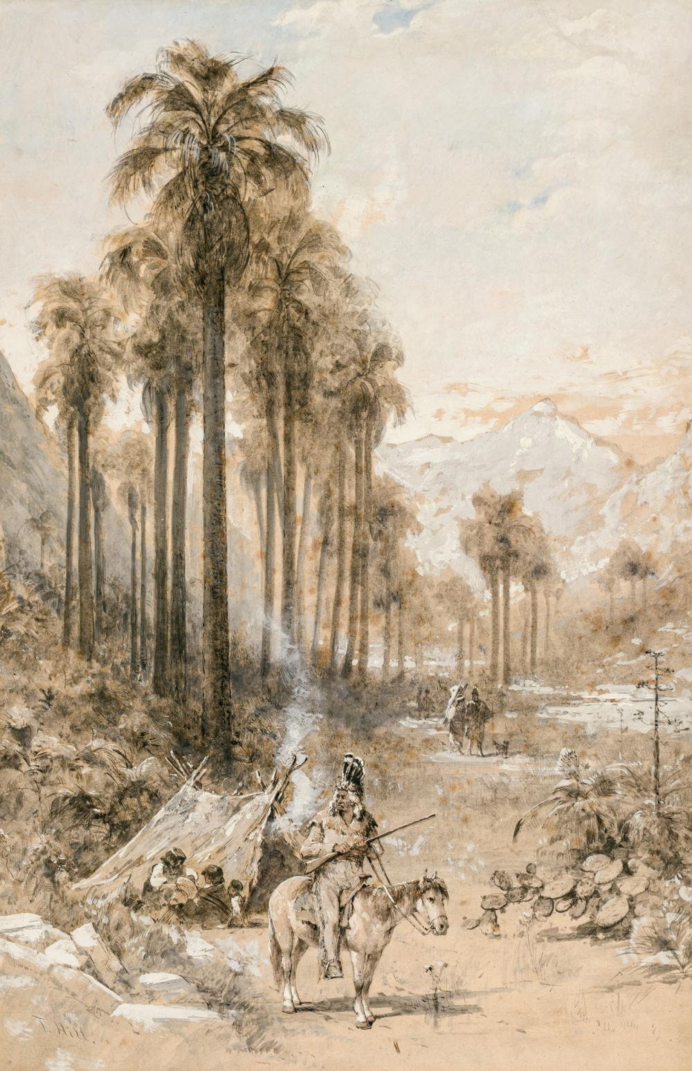 """THOMAS HILL, American (1829-1908), """"Palm Valley,"""" c. 1886-87, oil on paper laid down on museum board, signed lower left """"T. Hill"""", 1..."""