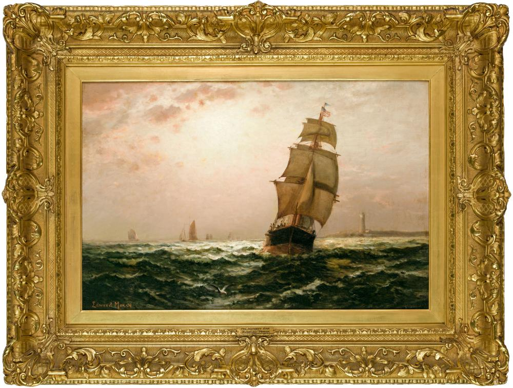 "EDWARD MORAN, American (1829-1901), The Journey's End, oil on canvas, signed lower left ""Edward Moran"", 20 x 30 inches"