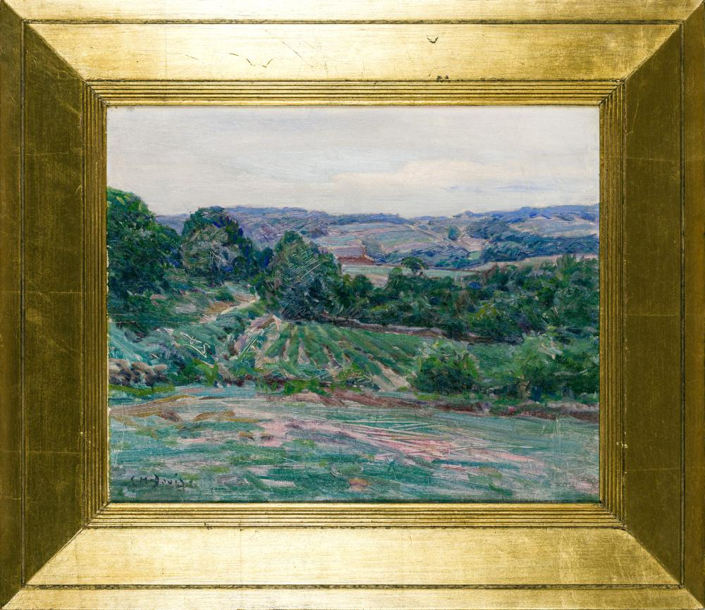 "CHARLES HAROLD DAVIS, American (1856-1933), ""Rolling Hills of Mystic"", oil on canvas, signed lower left ""C.H. Davis"", 13 x 16 inches"