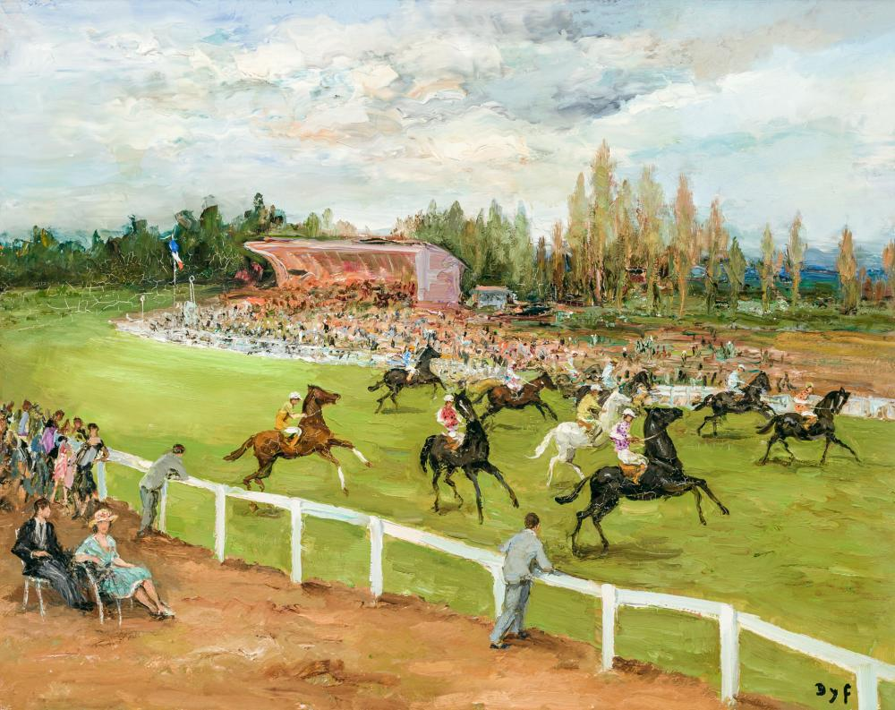 "MARCEL DYF, French (1899-1985), ""Champs de Courses à Longchamps,"" 1970, oil on canvas, signed lower right ""Dyf"", 29 x 36 1/8 inches"
