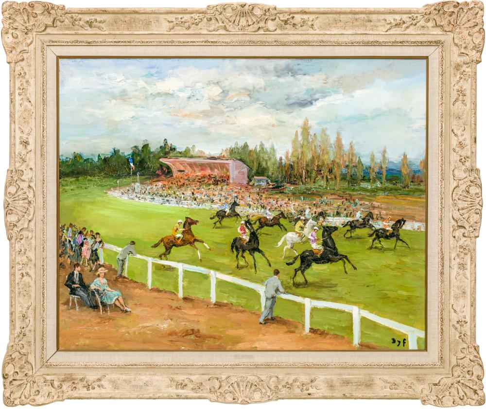 """MARCEL DYF, French (1899-1985), """"Champs de Courses à Longchamps,"""" 1970, oil on canvas, signed lower right """"Dyf"""", 29 x 36 1/8 inches"""