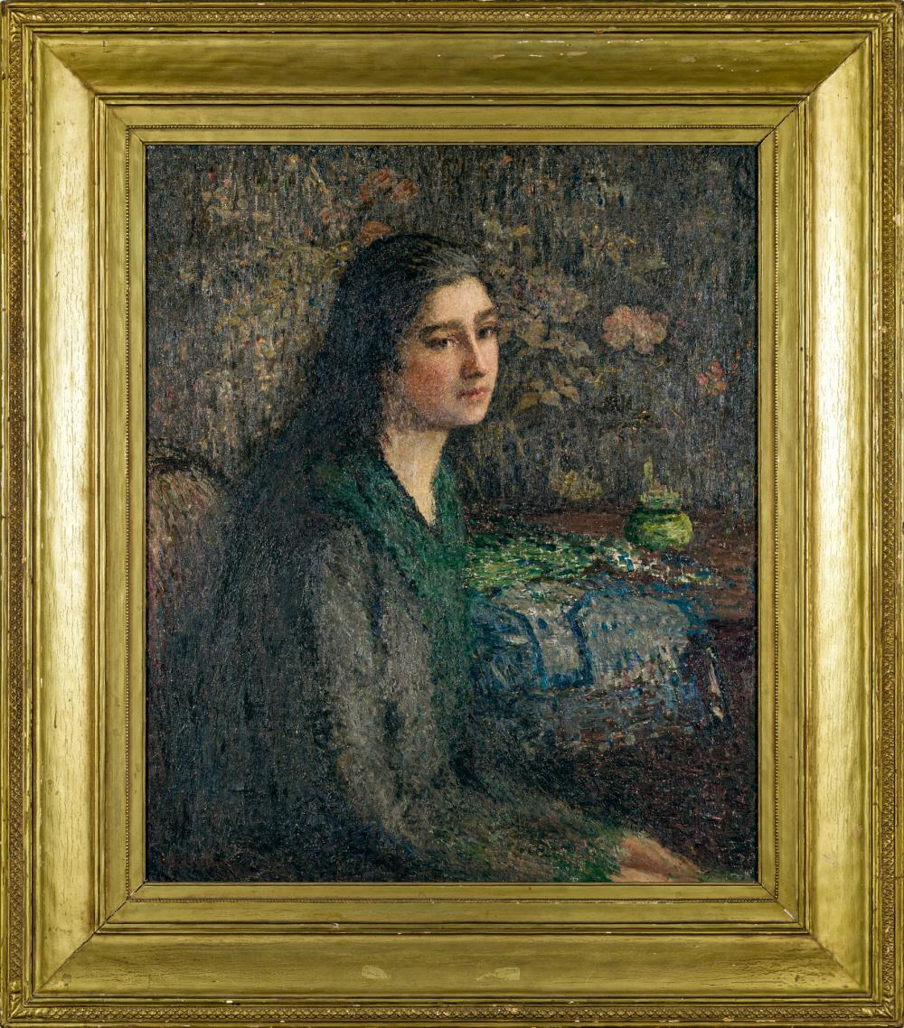 "HELEN MARIA TURNER, American (1858-1958), ""The Italian Girl"", oil on canvas laid down on fiberboard, signed, dated and inscribed low..."