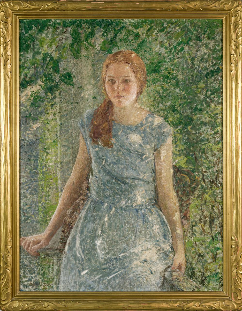 """HELEN MARIA TURNER, American (1858-1958), """"Portrait of Anne Spencer,"""" c. 1925, oil on canvas, signed and inscribed lower left """"Helen..."""