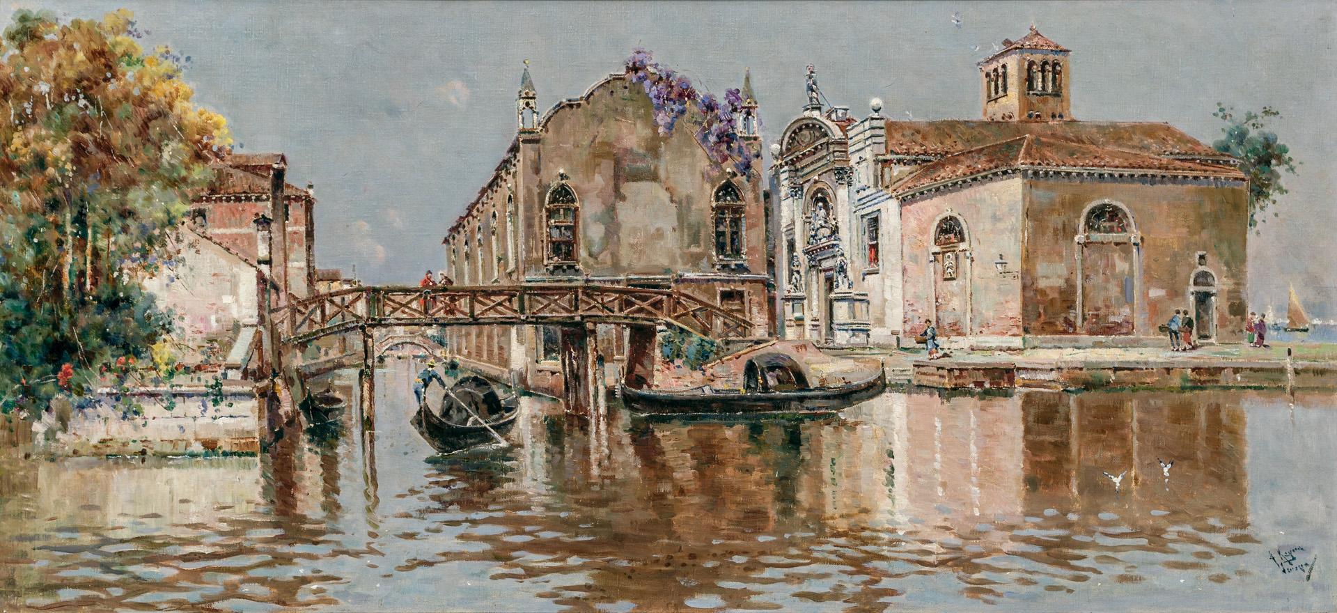 """ANTONIO MARIA DE REYNA MANESCAU, Spanish (1859-1937), Venetian Canal, oil on canvas, signed lower right """"A. Reyna Manescau"""", 14 x 29..."""