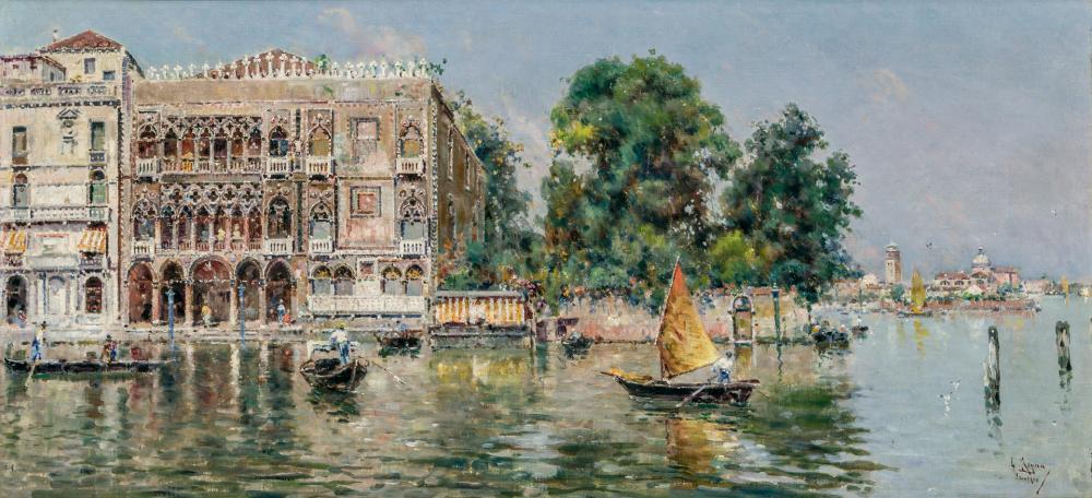 """ANTONIO MARIA DE REYNA MANESCAU, Spanish (1859-1937), Gondoliers in Venice, oil on canvas, signed lower right """"A. Reyna Manescau"""", 1..."""