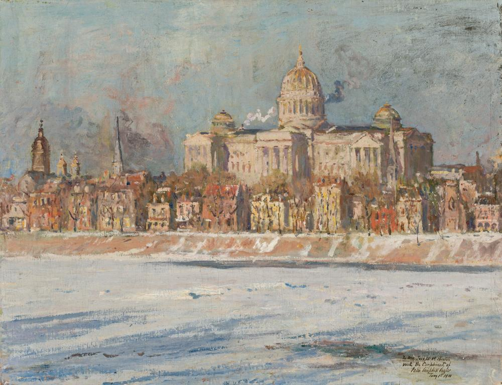 """COLIN CAMPBELL COOPER, American (1856-1937), """"The Pennsylvania State Capitol Building, Harrisburg"""", oil on canvas, signed, inscribed..."""