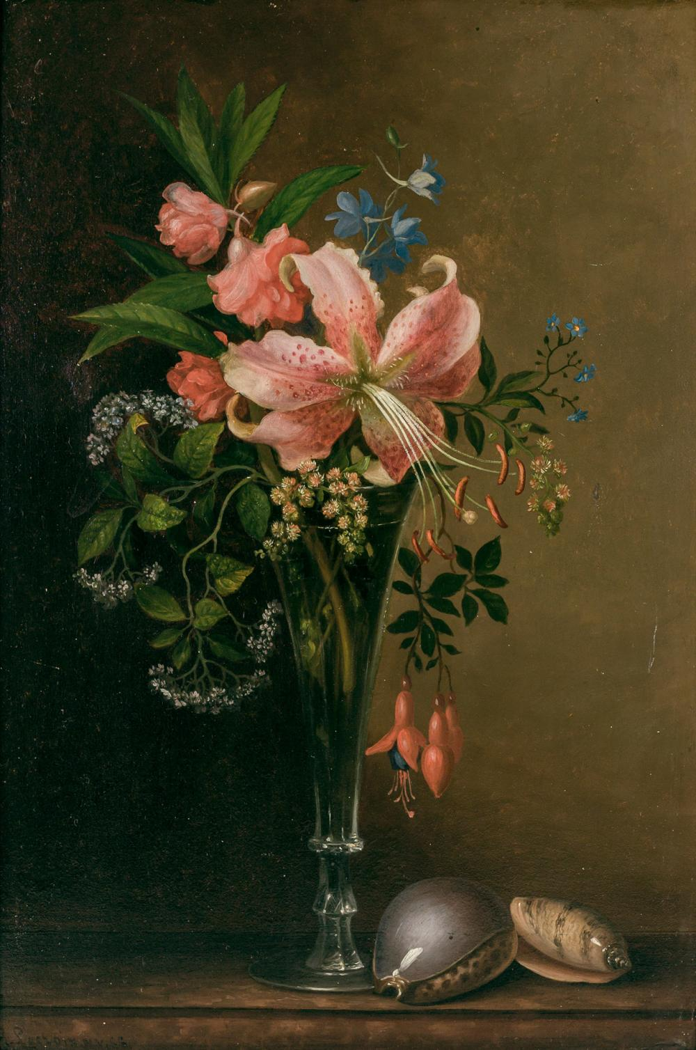 "PAUL LACROIX, American (1827-1869), Floral Still Life with Shells, oil on board, signed, inscribed and dated lower left ""P. Lacroix..."