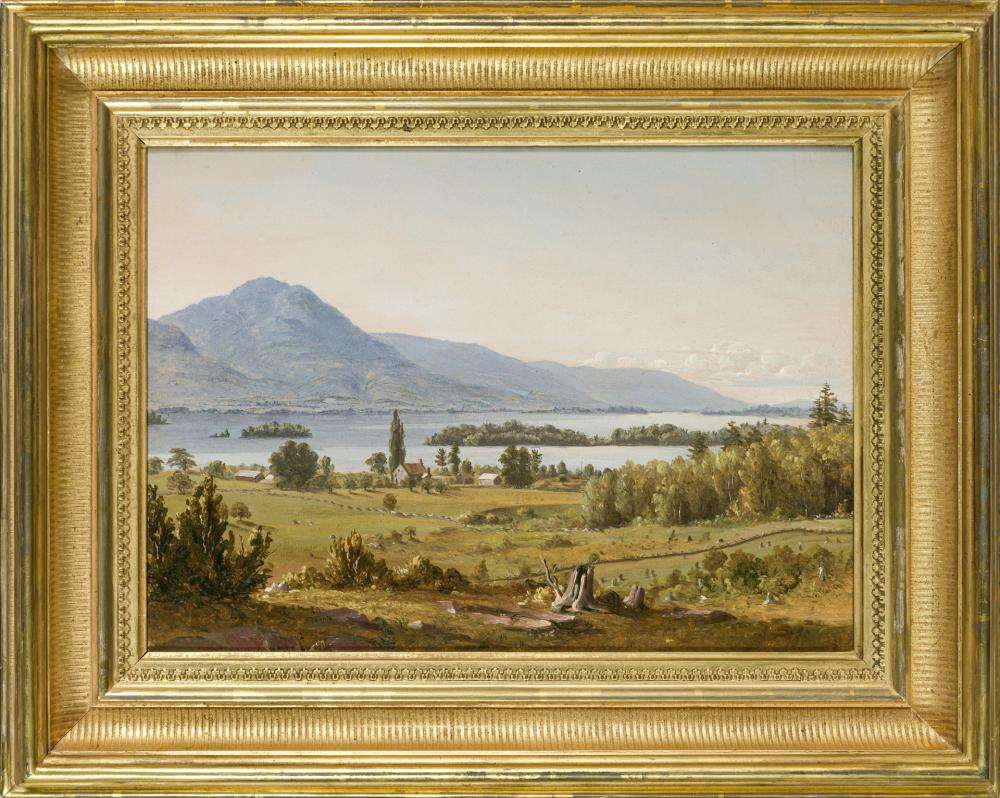 "SANFORD ROBINSON GIFFORD, American (1823-1880), ""Lake George from Near Sabbath Day Point"", oil on canvas mounted on paperboard, unsi..."