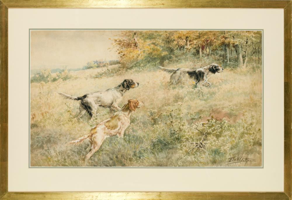 "EDMUND HENRY OSTHAUS, American (1858-1928), On the Hunt, watercolor on paper, signed lower right ""Edm. H Osthaus"", 17 1/4 x 29 1/4 i..."