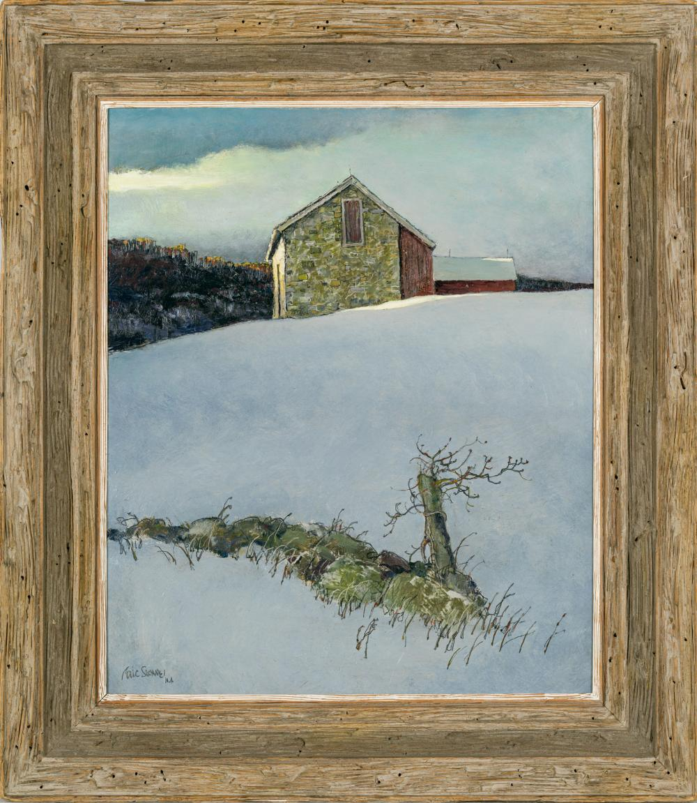 "ERIC SLOANE, American (1905-1985), ""Last Snow"", oil on masonite, signed lower left ""Eric Sloane N.A."", 24 x 20 inches"