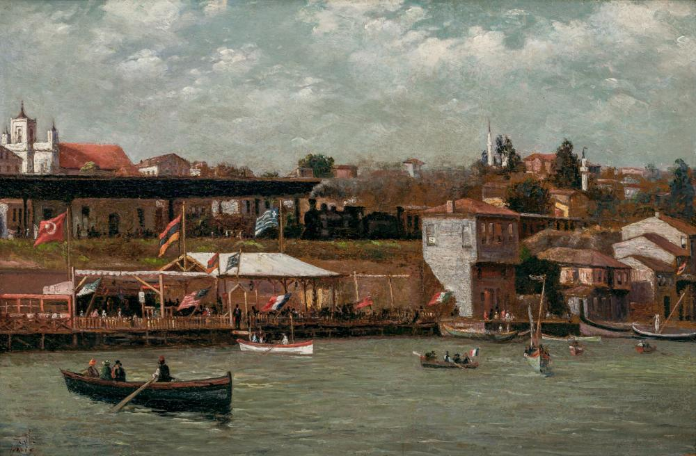 HALID NACI, Turkish (1875-1927), On the Banks of the Bosphorus, Istanbul (Two Views), oil on board, signed lower left, (a) 11 1/2 x...