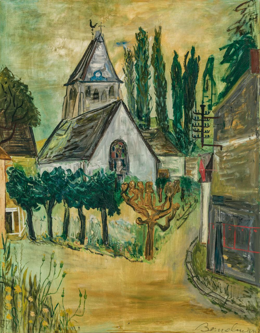 "LUDWIG BEMELMANS, American (1898 - 1962), Church in the Village, oil on canvas, signed lower right ""Bemelmans,"" dated lower left ""57..."