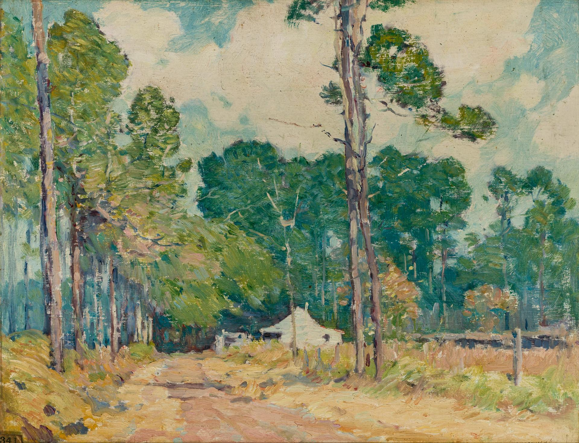 """WILLIAM CHADWICK, American (1879-1962), The Path Home, oil on board, signed lower right """"W. Chadwick"""", 14 1/4 x 18 1/4 inches"""
