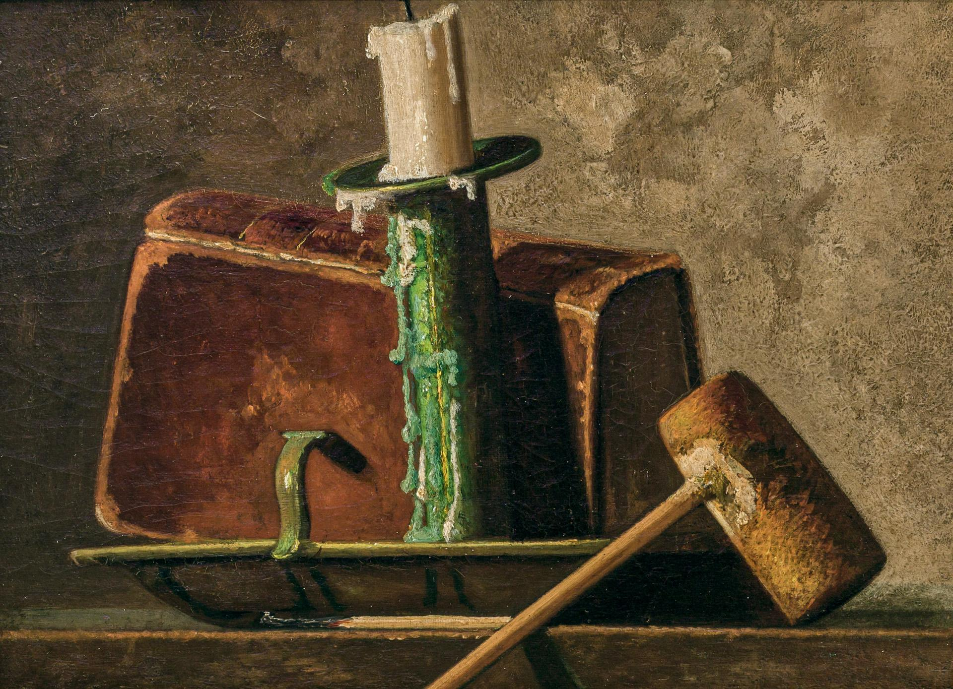 JOHN FREDERICK PETO, American (1854-1907), Still Life with Pipe, Candlestick and Book, c. 1890, oil on board, inscribed on the rever...