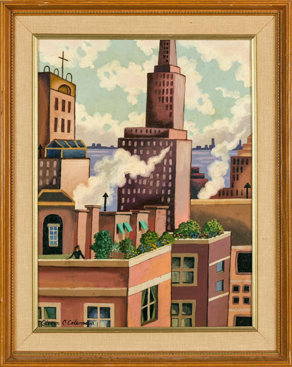 "GLENN O. COLEMAN, American (1887-1932), Manhattan Rooftops, oil on canvasboard, signed lower left ""Glenn O. Coleman"", 16 x 12 inches"