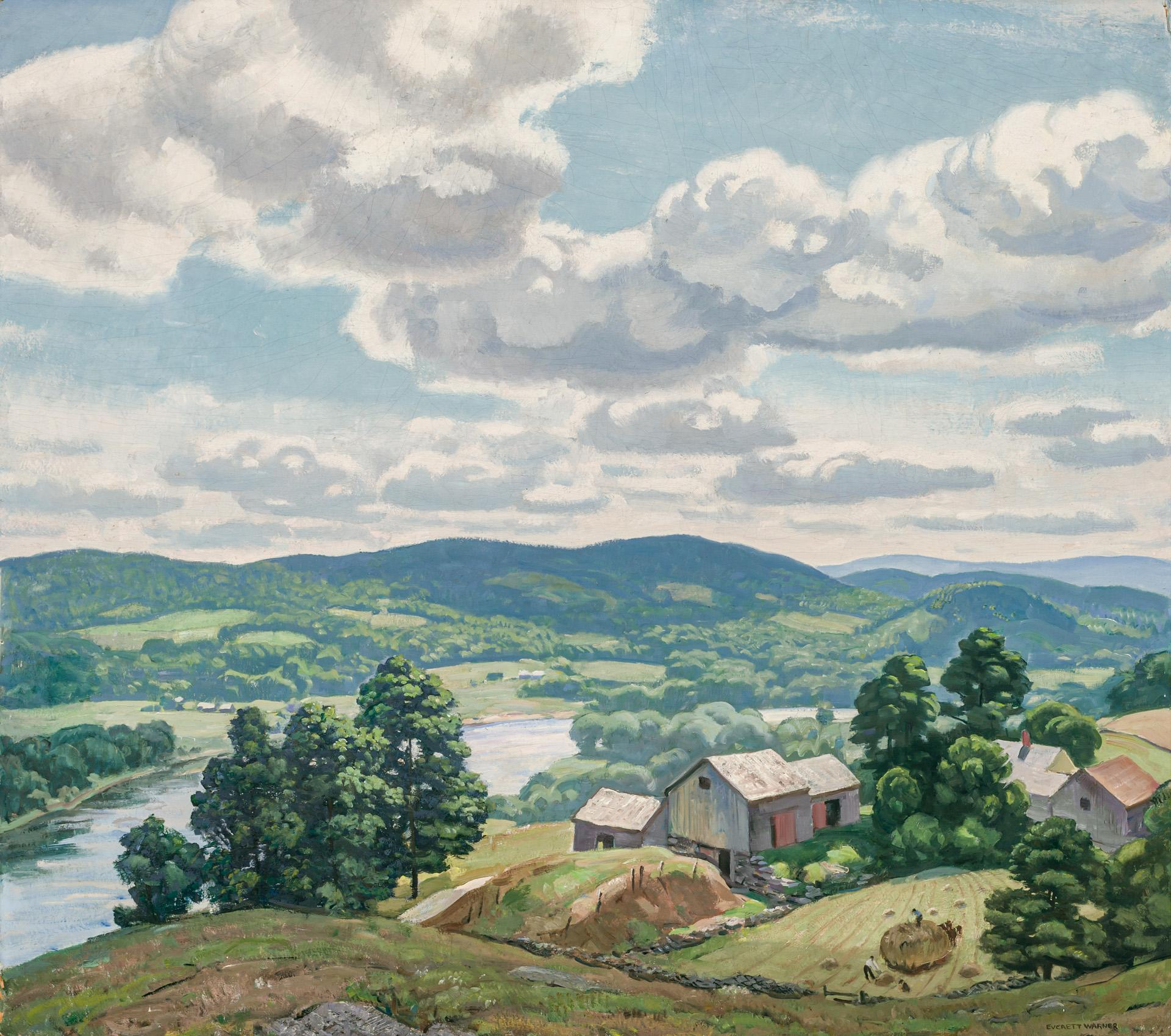 "EVERETT LONGLEY WARNER, American (1877-1963), ""Haying by the Connecticut River,"" ca. 1937, oil on board, signed lower right ""Everett..."