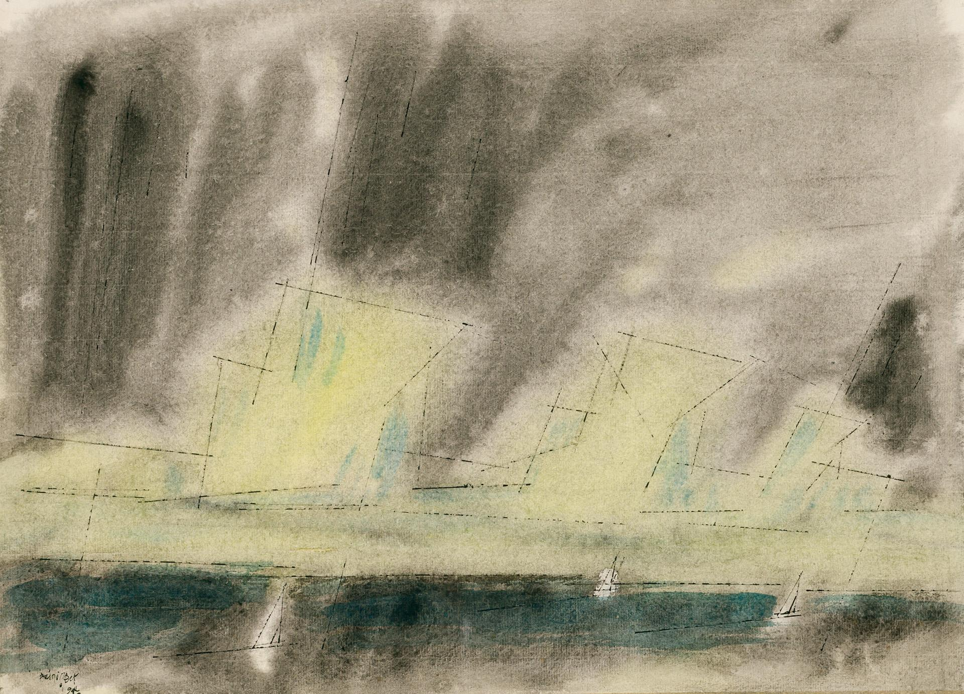 """LYONEL FEININGER, American/German (1871-1956), """"Three Sails"""", ink and watercolor on paper, signed and dated lower left """"Feininger 19..."""