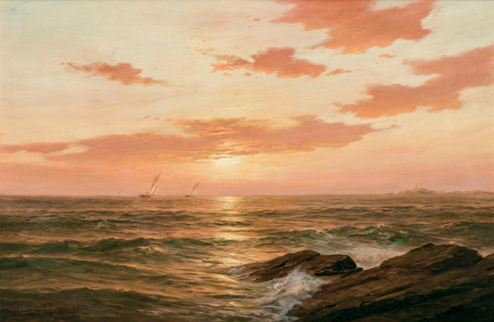 "WARREN W. SHEPPARD, American (1858-1937), Sunset - Isle of Shoals, oil on canvas, signed lower right ""Warren Sheppard"", 20 x 30 inch..."
