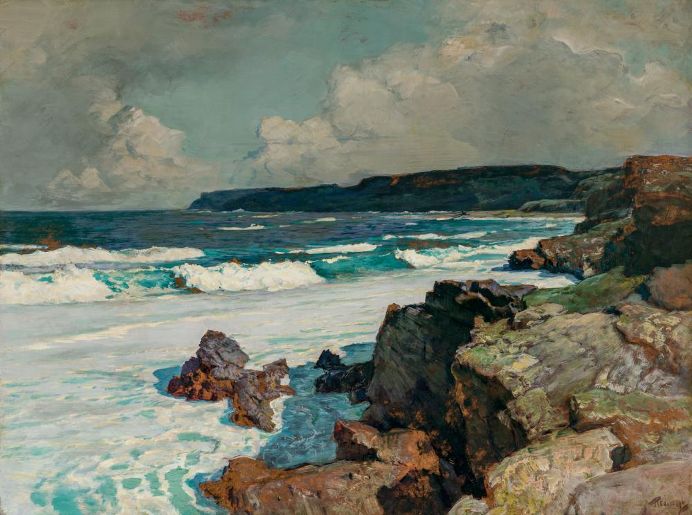 """FREDERICK JUDD WAUGH, American (1861-1940), """"The Cove"""", oil on masonite, signed lower right """"F. Waugh"""", 30 x 40 inches"""