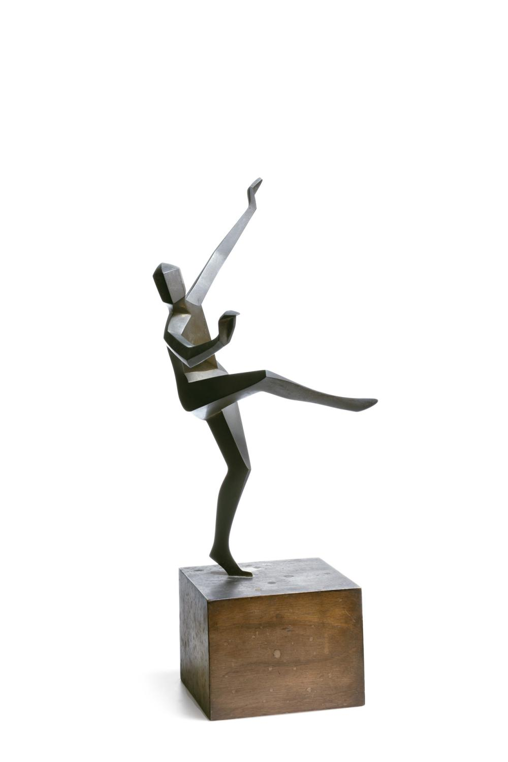 """MARGARETE (MARG) MOLL, German (1884-1977), Cubist Dancer, bronze, signed and dated """"© Moll '30,"""" artist label on the base, height: 1..."""