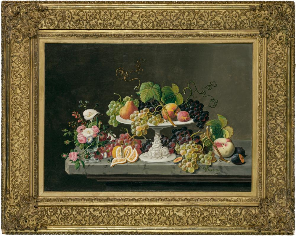 "SEVERIN ROESEN, American (1815-1872), Still Life of Fruit with Goblet of Flowers, oil on canvas, signed lower right ""Roesen,"" inscri..."