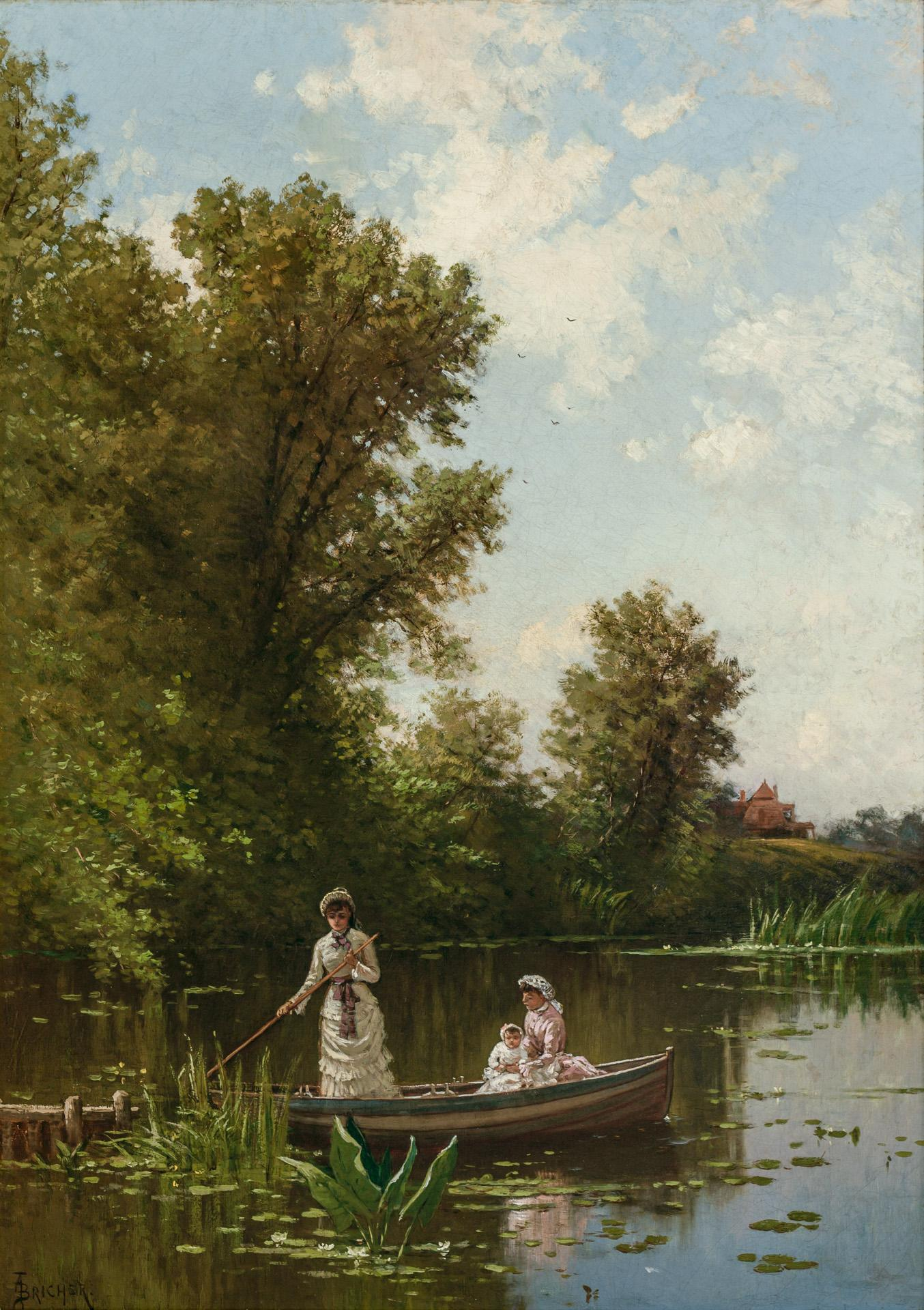 """ALFRED THOMPSON BRICHER, American (1837-1908), Boating in the Afternoon, Newburyport, oil on canvas, signed lower left """"A.T. Bricher..."""